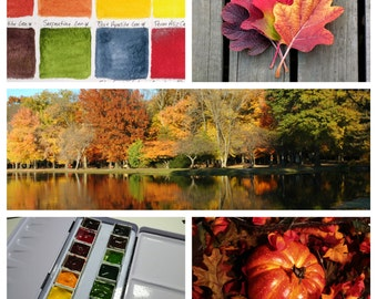 Custom Autumn Palette - Hand-Poured Half Pans of Fine Art Watercolor Paint by Daniel Smith