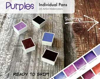Purples - DS Watercolor 5ml Half Pans - Hand Poured - Already Dried