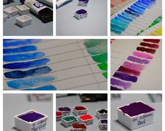 The Blues (and Purples) - Hand-Poured Half Pans of Fine Art Watercolor Paint by Daniel Smith (You cho