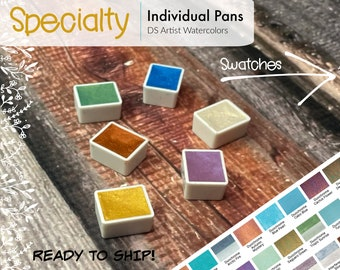 Specialty  (Iridescent, Interference, Shimmer and Duochrome) - DS Watercolor Half Pans - Hand Poured - Already Dried