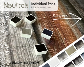 Neutrals - Grey, Black, and White - DS Watercolor 5ml Half Pans - Hand Poured - Already Dried