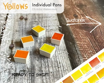 Yellows and Oranges - - DS Watercolor 5ml Half Pans - Hand Poured - Already Dried