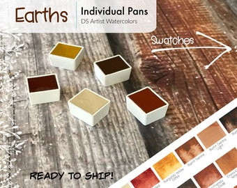 Earths - Brown and Warm Neutrals - - DS Watercolor 5ml Half Pans - Hand Poured - Already Dried