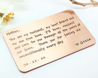 copper wallet insert card custom hand stamped wallet insert card husband boyfriend gift 7 year gift for him thoughtful wedding for dad