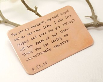 copper wallet insert card customized personal messages husband boyfriend gift 7 year birthday gift for husband boyfriend birthday gift