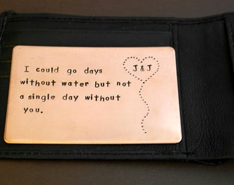 Copper Wallet Insert Card - Handstamped Personalized messages - Gift for husband, boyfriend, father and friends- Father's Day Gift Idea