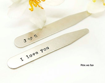 Gift for Dad- Sterling Silver Personalized Collar Stays Groomsmen Gift for Him Wedding Party Monogram Collar Stays NICKEL FREE