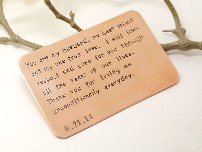 Copper Wallet Insert Card Customized Personal Messages