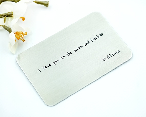 ce24278c842 Hand Stamped Wallet Insert Card - Customized personal messages - Gift for  husband, boyfriend, father and friends. Thoughtful Message for Dad