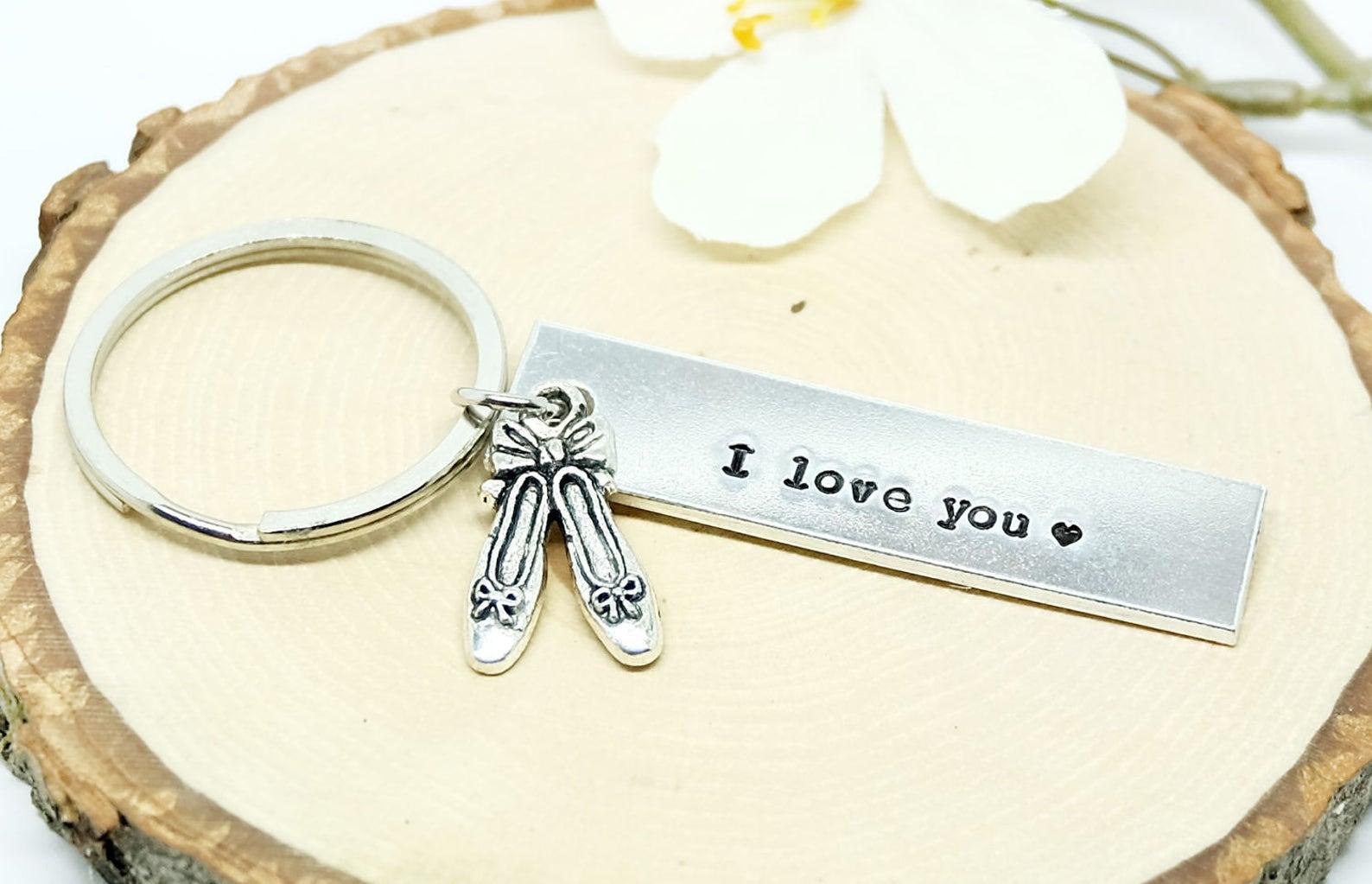 personalize keychain, ballet slipper keychain, ballerina charm, ballerina charm keyring, birthday gift, gift for little girl.