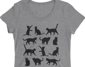 Cat Tshirt - Cat T Shirt - Women's Tshirt - Graphic Tee Women - Ladies Tshirt  - Cat Top - Gift For Cat Lady - by Bloom Bloom Wear