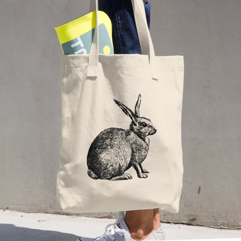Rabbit tote bag gift for women Bunny Canvas Tote Bag printed canvas tote bag