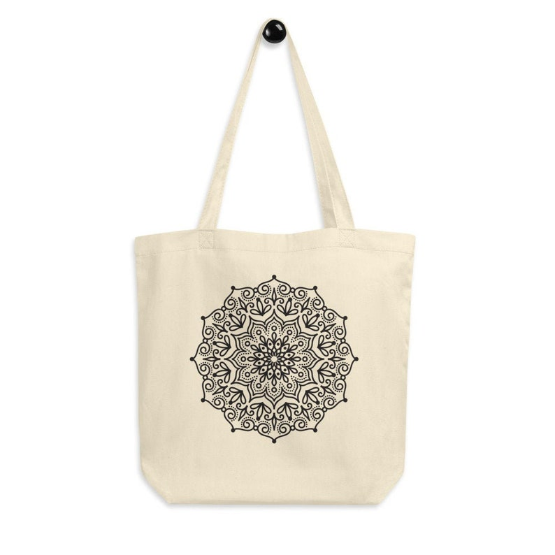 Mandala tote bag gift for women certified organic cotton printed canvas tote bag Canvas Tote Bag