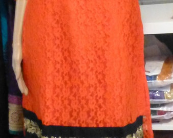 Orange/Black Straight cut Dress for Special Occasions. Fast & Free Shipping. US Seller