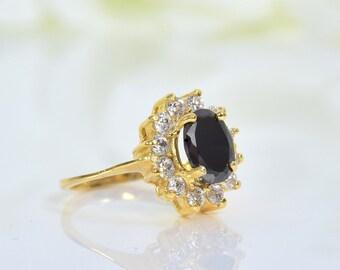 Cocktail Ring 14 k gold Ring Smaragd Ring Geburtsstein Ring