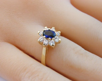291aa804e princess diana ring Sapphire Ring, 14K Gold Fill gemstone Ring, Affordable  Engagement Ring, Gift for Her, swarovski crystal birthstone ring