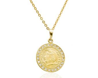 Gold Münze Halskette Kaiser Franz Joseph 1 Zoll Münze Etsy