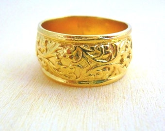 Flower ring Gold Filled Filigree ring Band Ring, floral ring gifts for women, gift for her