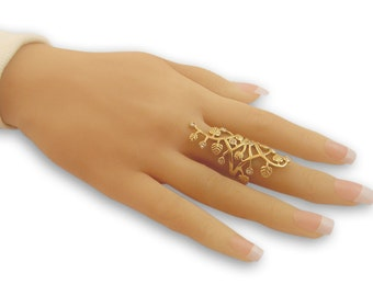 Full finger ring -Gold Filled Ring, filigree ring, floral ring, gold lace ring cubic zirconia ring white stone ring
