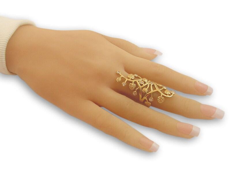 Full finger ring Gold Filled Ring filigree ring floral image 0