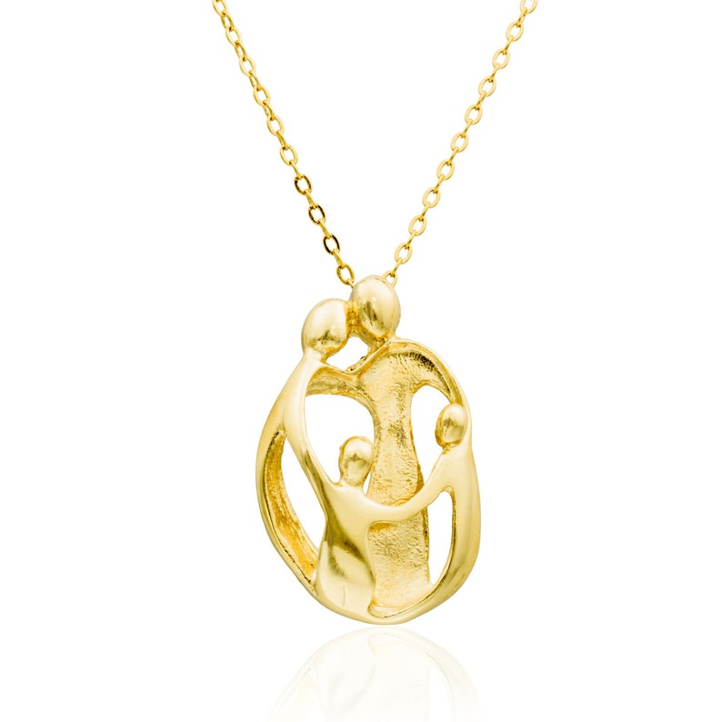 Mother necklace  Family pendant with 2 children best mother gift HandMade Gold Filled 14K Pendant
