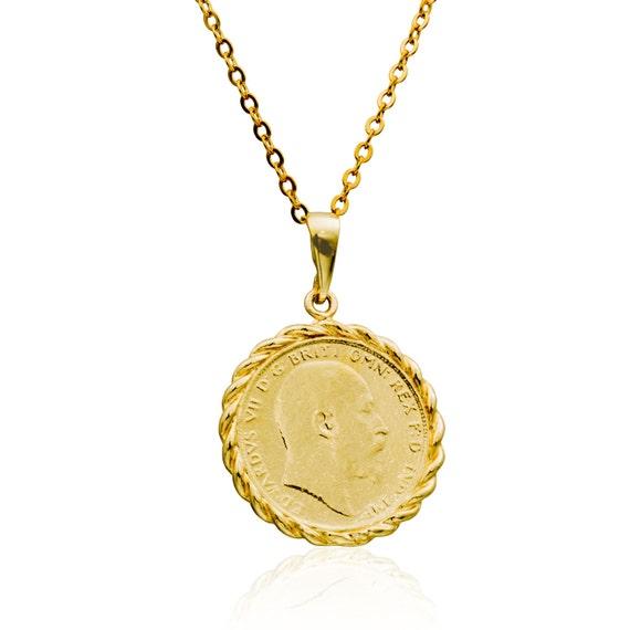 Münze Halskette Gold Füllen 14k Anhänger Münze Anhänger Etsy