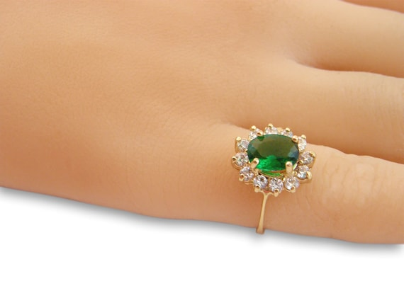 Princess Diana Ring Emerald Gemstone Ring 14k Gold Filled Etsy