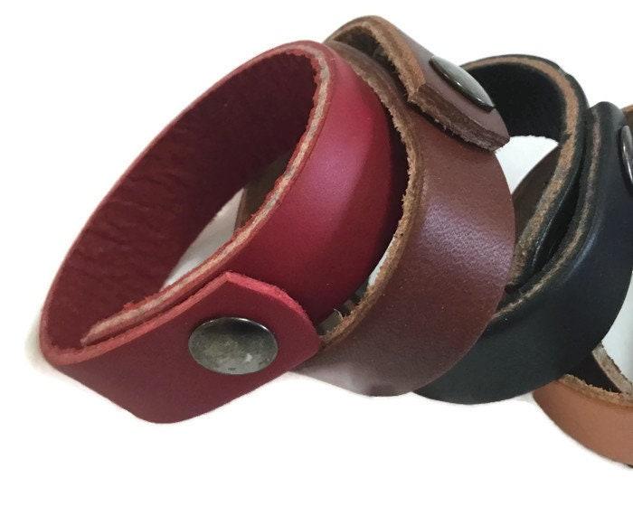 Genuine leather bracelet red leather bracelet narrow bracelet unisex leather cuff