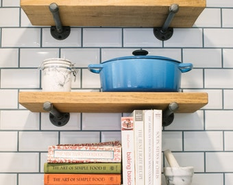 Fruitwood Stained Many Sizes Rustic Industrial Floating Shelves, Wall  Shelves, Pipe Bracket Shelving, Rustic Wood Shelf, Farmhouse Shelves