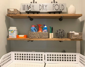 A Extra Long Rustic Floating Shelf, two brackets, Laundry Room Storage and Organization, Farmhouse Laundry Room, Rustic Wood wall shelf