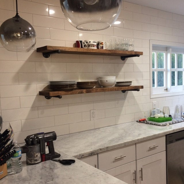 Industrial Meets Rustic In This Kitchen: Extra Long 10 Deep Rustic Industrial Floating Shelves