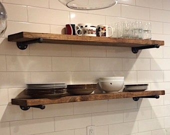 One Extra Long Farmhouse Rustic Floating Shelf, Iron PIpe brackets, Wall shelf, Kitchen storage, Rustic Fixer Upper shelf.