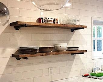 Single Extra Long Various Depth Rustic Floating Shelf, Two Iron pipe brackets, Farmhouse Kitchen Shelf, Pantry Storage & Organization
