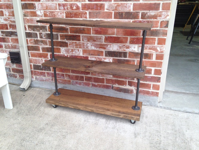 Bar Cart, Industrial Rolling shelving unit with three shelves  Clothes  storage rustic wood and iron pipe  Rustic Industrial garment cart