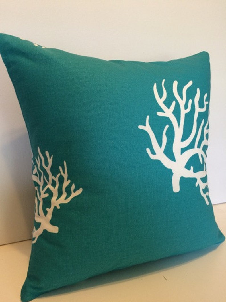 Decorative Pillow Cover TEAL CORAL 17 x 17 inches