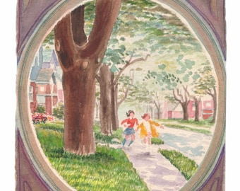 Springtime Skipping - Fine Art Giclee Print of Original Watercolor Painting