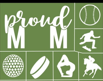 "Magnolia Design Co-Proud Sports Mom-Reusable Adhesive Silkscreen Stencil 8.5"" X 11""-Chalk Art DIY"