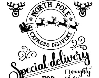 "Magnolia Design Co-North Pole Delivery-Reusable Adhesive Silkscreen Stencil 12"" x 18""-Chalk Art DIY"