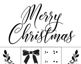 """Magnolia Design Co-Merry Christmas-Reusable Adhesive Silkscreen Stencil 15"""" x 15""""-Chalk Art DIY"""