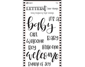 "Ranger BABY Letter It Clear Stamp Set ""The Perfect Sentiment Stamp Set"" LEC59288"