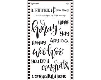 "Ranger CELEBRATION  Letter It Clear Stamp Set ""The Perfect Sentiment Stamp Set"" LEC59301"