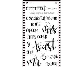 "Ranger WEDDING Letter It Clear Stamp Set ""The Perfect Sentiment Stamp Set"" LEC59332"
