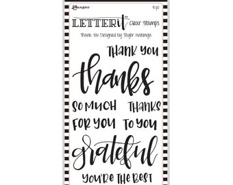 "Ranger THANK YOU Letter It Clear Stamp Set ""The Perfect Sentiment Stamp Set"" LEC59325"
