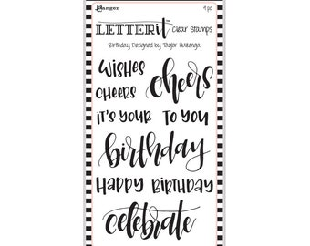 "Ranger BIRTHDAY  Letter It Clear Stamp Set ""The Perfect Sentiment Stamp Set"" LEC59295"