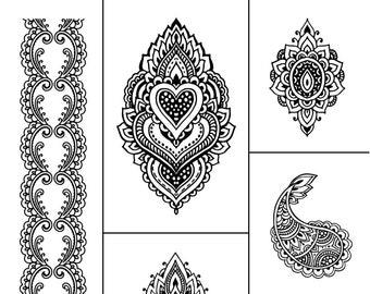 """Magnolia Design Co-Henna-Reusable Adhesive Silkscreen Stencil 8.5"""" X 11""""-Chalk Art DIY"""