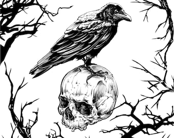 "Magnolia Design Co-Crow On Skull-Reusable Adhesive Silkscreen Stencil 15"" x 15""-Chalk Art DIY"