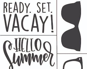 "Magnolia Design Co-Hello Summer-Reusable Adhesive Silkscreen Stencil 8.5"" X 11""-Chalk Art DIY"