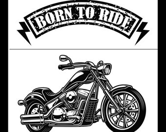 "Magnolia Design Co-Born to Ride-Reusable Adhesive Silkscreen Stencil 12"" x 18""-Chalk Art DIY"