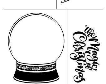 """Magnolia Design Co-Snowglobe-Reusable Adhesive Silkscreen Stencil 12"""" x 18""""-Chalk Art DIY"""