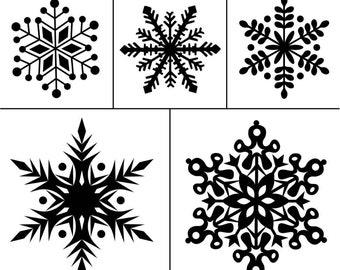 """Magnolia Design Co-Snowflakes-Reusable Adhesive Silkscreen Stencil 8.5"""" X 11""""-Chalk Art DIY"""